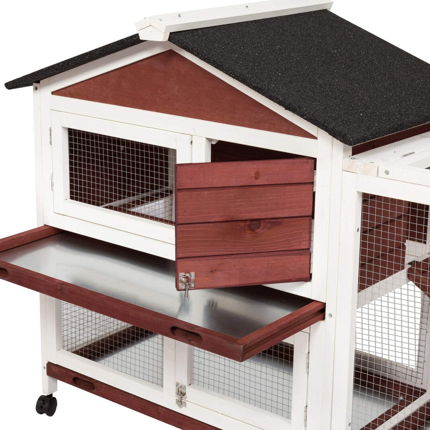 15+ Kintness Large Wooden Rabbit Hutch Indoor and Outdoor Bunny cage on Wheels  Guinea Pig Coop PET House for Small with Ramp and Cleaning Tray Image