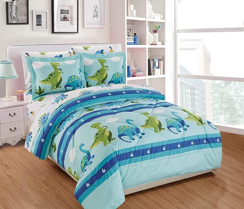 Fancy Linen 7pc Full Comforter Set Dinosaur Rhino Aqua Green White Blue New