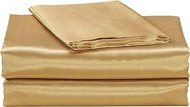 مجموعة ملاءات EHP فائقة النعومة من الساتان الحريري EHP (جيب صلب/عميق) (King، ذهبي)