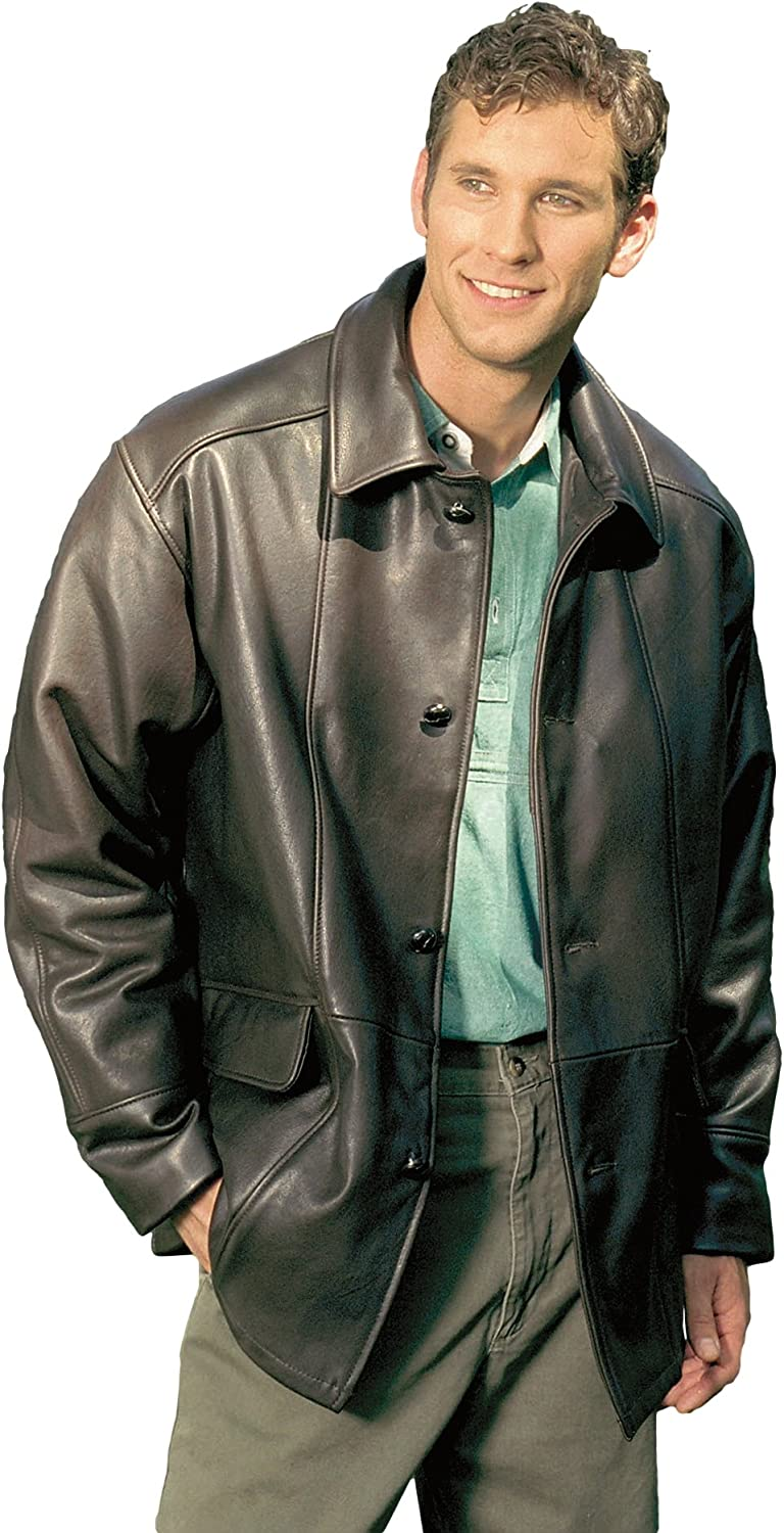 Reed Men S Premium Four Button Car Coat Leather Jacket Made In Usa At Amazon Men S Clothing Store
