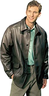 REED Men's Premium Four Button Car Coat Leather Jacket Made in USA