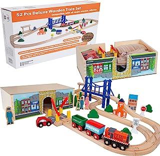 Orbrium Toys 52 Pcs Deluxe Wooden Train Set with 3 Destinations Fits Thomas, Brio, Chuggington, Melissa and Doug, Imaginar...