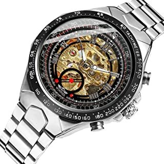 Mens Watch,STONE Skeleton Dail Stainless Steel Bracelet Classic Analog Automatic Wrist Watch for Business Men