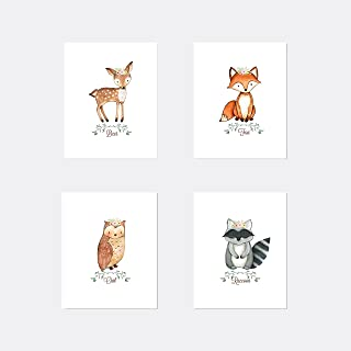 Girl Woodland Nursery Art Prints 8x10 set of four