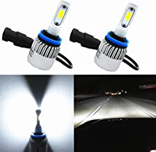 Alla Lighting COB Vision LED H11 Headlight Bulb 8000lm Xtremely Super Bright H8 H9 H11 LED Headlight Bulb Xenon H11 6000K ~ 6500K White All In One Headlamp Conversion Kits Bulbs (Set of 2)