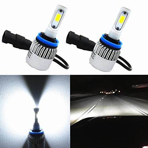 Alla Lighting COB Vision LED H11 Headlight Bulb 8000lm Xtremely Super Bright H8 H9 H11 LED