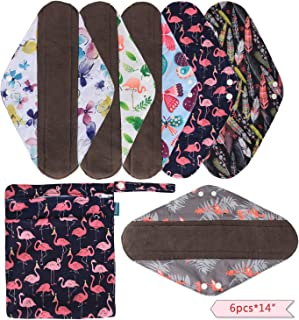 Teamoy 6pcs 14 Inch Cloth Sanitary Pads, Reusable Feminine Menstrual Pad Heavy Flow Cloth Pads with Charcoal Bamboo Absorbency Layers, Flamingo