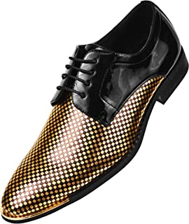 The Original Mens Patent Checkerboard Print Oxford with Metal Tip, Lace Up Tuxedo Dress Shoe, Style Winslow