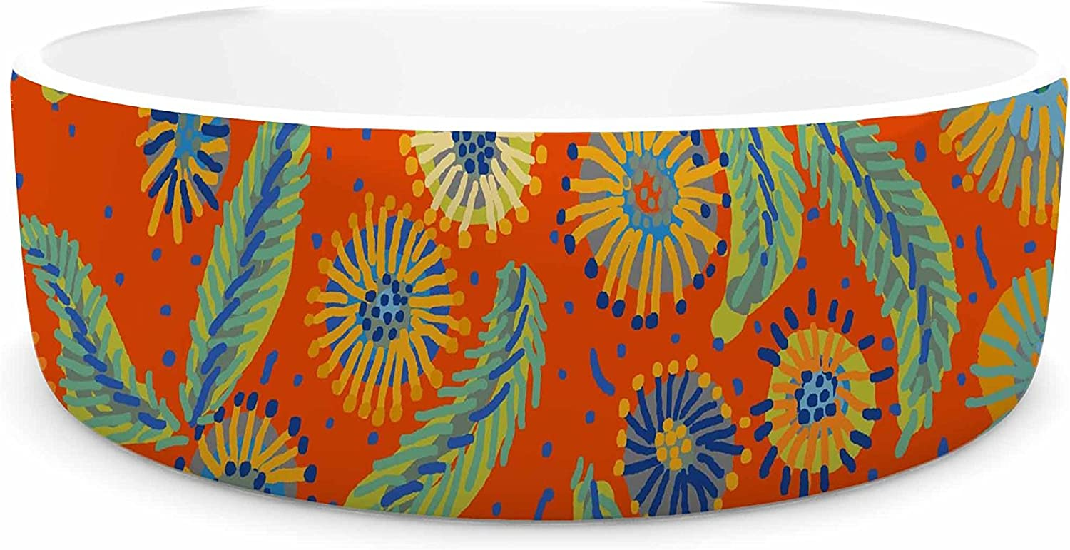 KESS InHouse Laura Nicholson Asters on Scarlet orange Floral Pet Bowl, 7