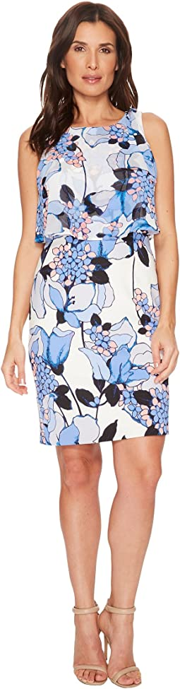 Ivanka Trump - Scuba Printed Sleeveless Georgette Popover Dress