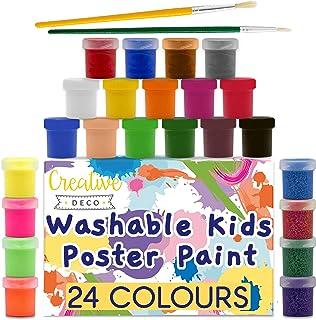 Creative Deco Peinture Enfant Lavable Doigt | 24 Pots x 20 ML | Non-Toxique | Couleurs de Base Fluorescentes Scintillantes...