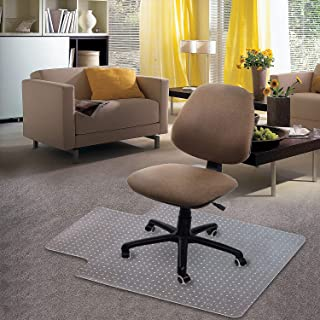"Kuyal Carpet Chair Mat, 48"" x 36"" PVC Home Office Desk Chair Mat for Floor Protection, Clear, Studded, BPA Free Matte Anti..."