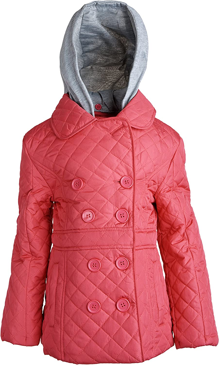Urban Republic Girls Padded Quilted Spring Rain Jacket with Detachable Hood - Hot Pink (Size 4)