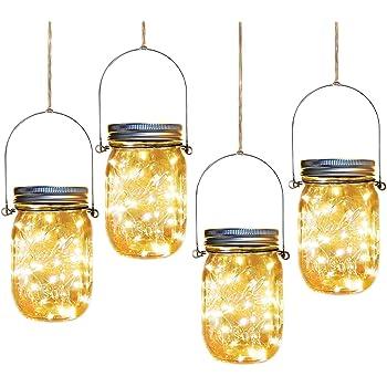 Solar Mason Jar Lights 4 Pack 30 Leds Waterproof Fairy Firefly String Lights Build In Glass Mason Jar Best Patio Garden Decor Solar Hanging Lanterns Outdoor Warm White 4 Pack Mason Jars Included