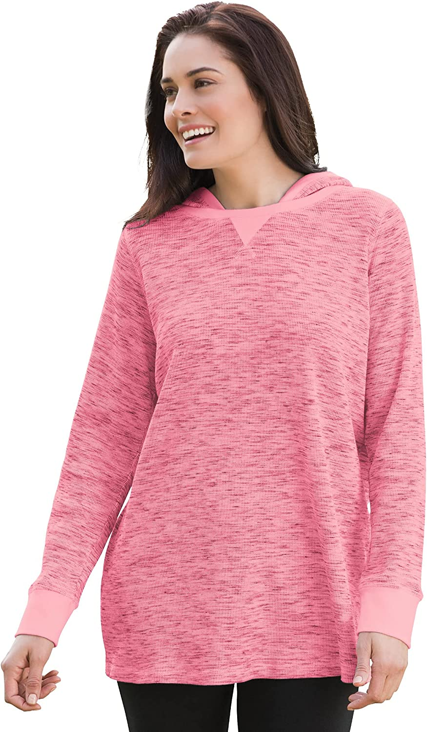 Woman Within Women's Plus Size Knit Thermal Waffle Hoodie.