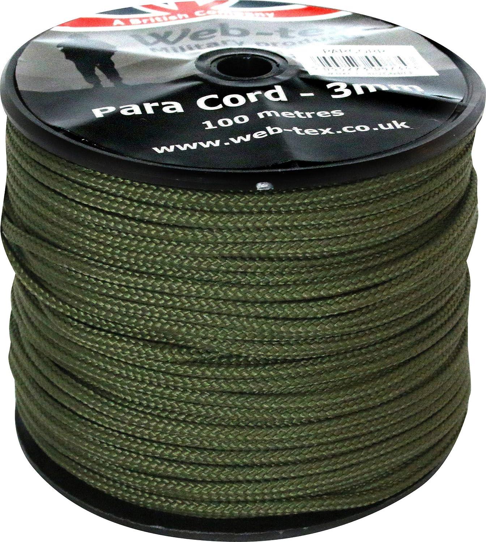 Web-tex Rollo de cord/ón Paracord de 3/mm 100 Metros