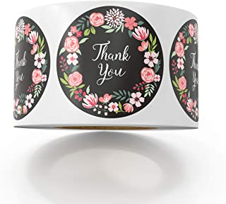 Sweetzer & Orange Thank You Stickers | 1.5 inches | 1000 Floral Stickers for Company Giveaway & Birthday Party Favors | Labels & Mailing Supplies for Small Business Boutique Bags & Merchandise Bags