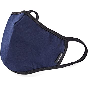 Allett Face Mask | Reusable 2 Pack | Navy Blue | Washable | Made with Polypropylene Non-Woven Filter | Comfortable Ear Loops | Nose Shaping Flex-Wire