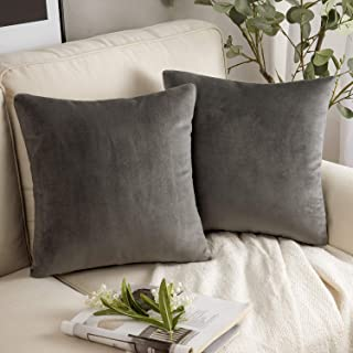 Best Phantoscope Pack of 2 Velvet Decorative Throw Pillow Covers Soft Solid Square Cushion Case for Couch Dark Grey 20 x 20 inches 50 x 50 cm Review