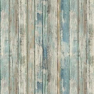 "practicalWs Reclaimed Wood Distressed Wood Panel Wood Grain Self-Adhesive Peel-Stick Wallpaper 11.8"" X 78.7"""
