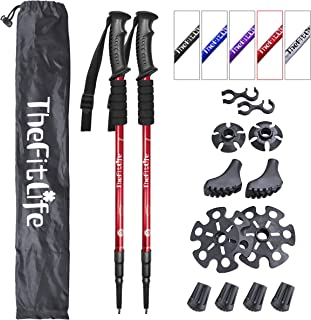 TheFitLife Nordic Walking Trekking Poles - 2 Packs with Antishock and Quick Lock System, Telescopic, Collapsible, Ultralig...