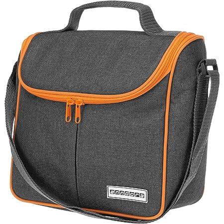 anndora Mini Kühltasche 4 Liter Vespertasche lunchbag - hellgrau orange