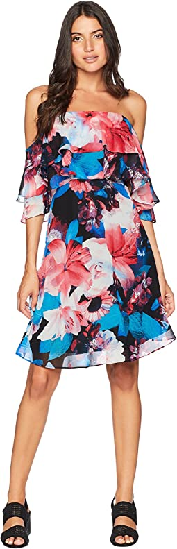 Tiered Off the Shoulder Flower Print Dress CD8B32NG