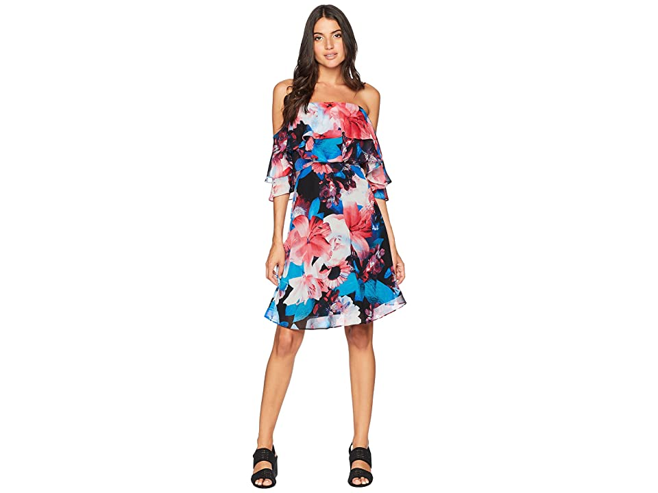Calvin Klein Tiered Off the Shoulder Flower Print Dress CD8B32NG (Red Multi) Women