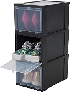 Amazon Basics Iris Ohyama, Rangement Drop Front Box-EUDF-S, Plastique, 9 L, 31 x 22 x 18 cm, Boîtes à Chaussures Noires/Lo...