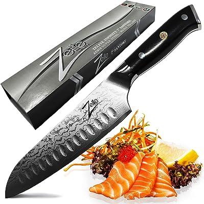 Zelite Infinity Santoku Knife 7 Inch - Alpha-Royal Series - Japanese AUS-10 Super Steel 67-Layer Damascus - Razor Sharp, Superb Edge Retention