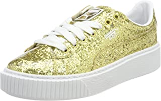 Puma Women's Basket Platformglitter Wn S Gold Leather Sneakers-3.5 UK/India (36 EU) (36409302)