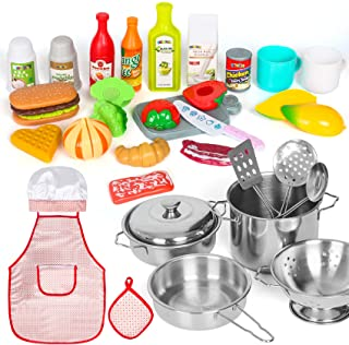Shimirth 37PCS تظاهر به لوازم آشپزخانه بازی ، آشپزخانه بچه گانه آشپزخانه از جنس استنلس استیل و قابلمه برای کودکان ، پیش بند