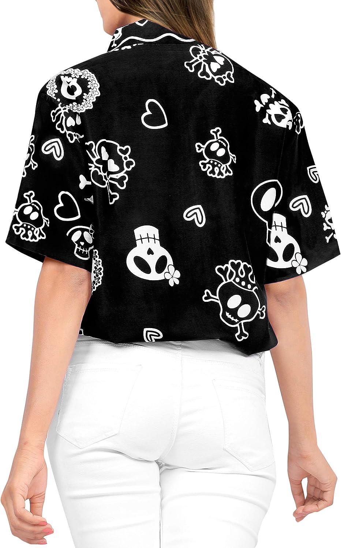 LA LEELA Womens Skull Halloween Costume Casual Beach Hawaiian Shirts Printed A