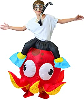 """Inflatable Costume Riding an Octopus Air Blow-up Deluxe Costume - Child Size Fits 5-12yr (45""""-60"""")"""