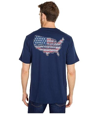 Vineyard Vines Short Sleeve USA Pocket T-Shirt (Blue Blaze) Men