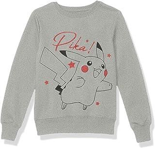 Pokemon Girls' Sweatshirt, Pikachu/Heather Grey, X-Small (4/5)