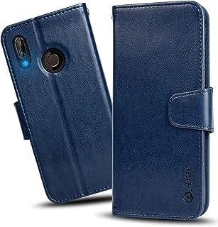 【Amazon限定ブランド】Huawei P20 lite ケース 手帳型 P20 liteケース ワイヤレス充電対応 スマホケース 横置き機能 Arae カードポケット付き ファーウェイ P20 ライト 用 財布型 ケース カバー(ダークブルー)