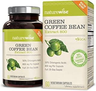 NatureWise Green Coffee Bean 800mg Max Potency Extract 50% Chlorogenic Acids | Raw Green Coffee Antioxidant Supplement & Metabolism Booster for Weight Loss | Non-GMO, Vegan, Gluten-Free [1 Month]