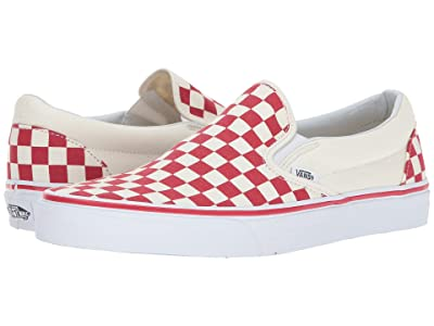 Vans Classic Slip-Ontm ((Primary Check) Racing Red/White) Skate Shoes
