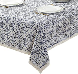 ColorBird Vintage Navy Damask Pattern Decorative Macrame Lace Tablecloth Heavy Weight Cotton Linen Fabric Decorative Table Top Cover, Rectangle/Oblong, 55 x 78 Inch