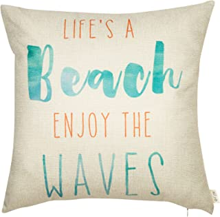 Fjfz Life's a Beach Enjoy The Waves Funny Motivational Sign Décor Inspirational Quote Summer Decoration Cotton Linen Home Decorative Throw Pillow Case Cushion Cover for Sofa Couch, 18