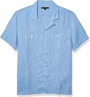 John Varvatos Star USA Men's Benny Easy Fit Guayabera Shirt with Chest Pockets