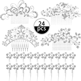24 Pieces Wedding Bridal Hair Combs Crystal Pearl Rhinestone Hair Clips Side Hair Accessories Pearl Hair Pins for Brides and Bridesmaids (Pattern Set 1)