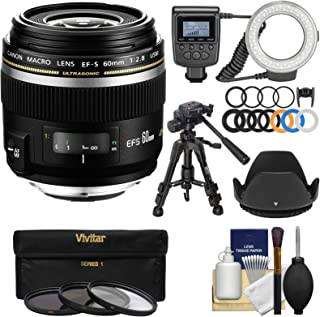 Canon EF-S 60mm f/2.8 Macro USM Lens with Ring Light + Macro Tripod + 3 UV/CPL/ND8 Filters + Hood + Kit
