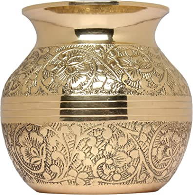 M K Cosmics Brass Handicrafted Embossed Designer Lota for Pooja/Gifts and Auspicious Occasions.