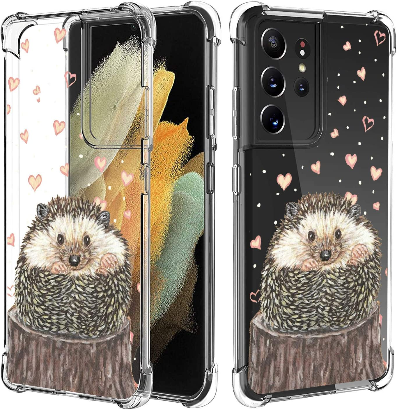 LINPO Case for Samsung Galaxy S21 Ultra 5G Personalized for Men and Women, Clear Four Corner Bumper and Anti-Slip Hard PC Back Soft Silicone TPU Case for Samsung Galaxy S21 Ultra 5G-Lovely Hedgehog