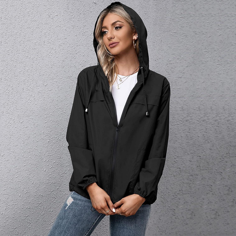 Women Rain Jacket Outdoor Solid Waterproof Hooded Raincoat Windproof Raincoat