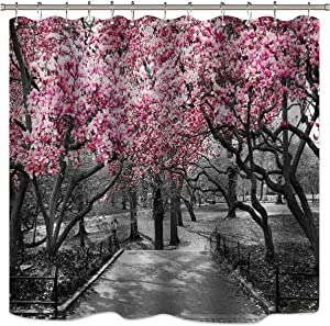 Riyidecor Blooming Pink and Gray Shower Curtain Forest Flowers Cherry Blossoms Park Spring Floral Trees Road Landscape Scenic Fabric Waterproof Bathroom Decor Set 72x72 Inch 12 Shower Plastic Hooks