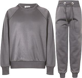 A2Z 4 Kids Girls Boys Raglan Sleeves Grey Jumper Tracksuit Sweatshirts & Bottom Jogg Suits