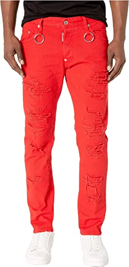 Rip Wash Skater Jeans in Red